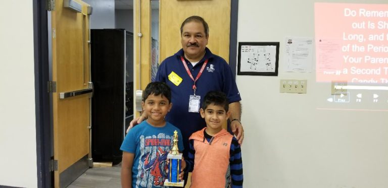 Kids with Chess Trophy